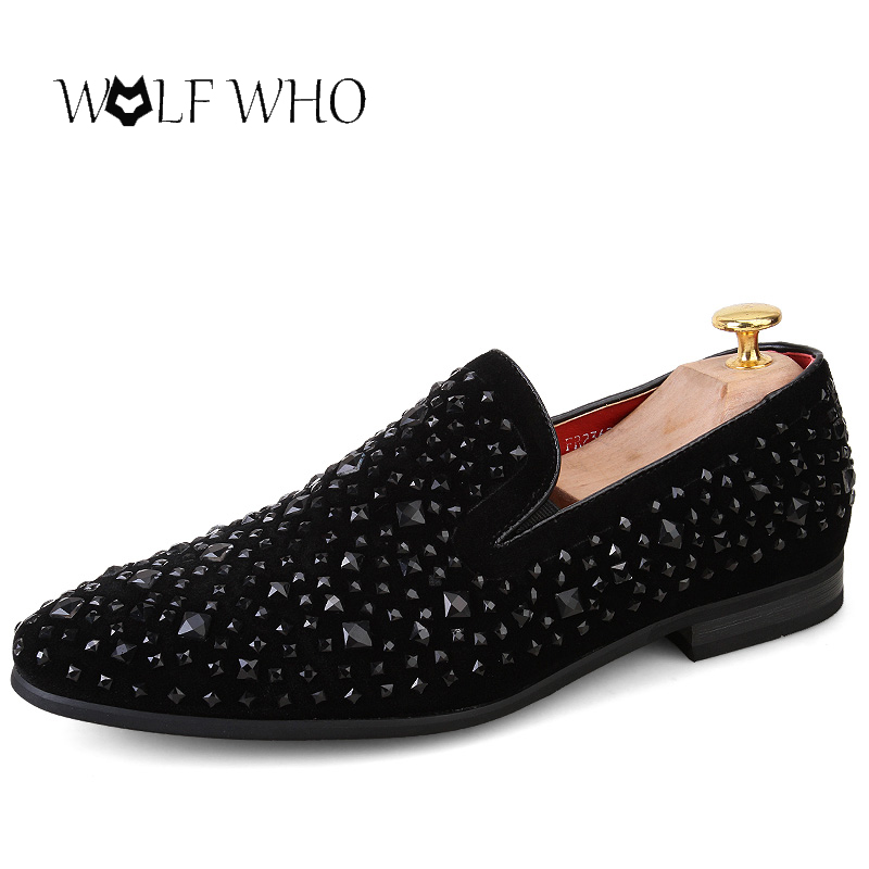 Wolfwho Black Spikes Rhinestones Glitter Mens Club Shoes Loafers
