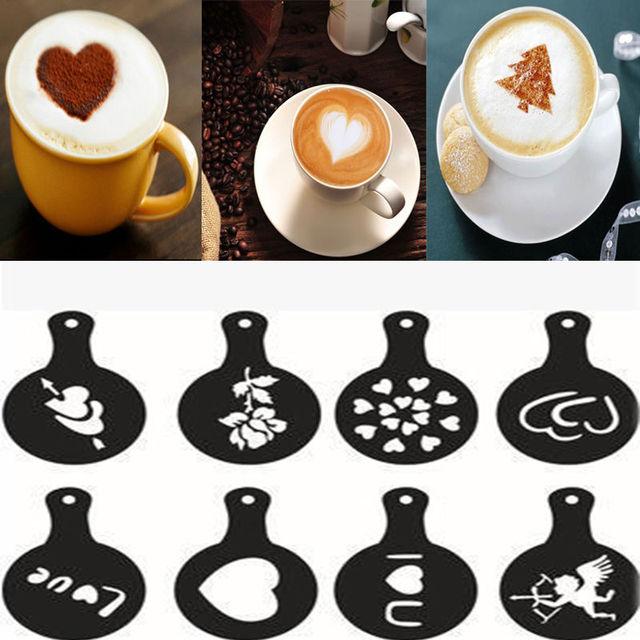 8 pcs/set Latte Art Stencils