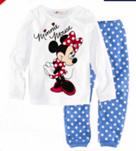 HOT SALE! Free shipping 6 sets/lot girl's spring autumn Minnie printed home clothes & sleep wear, children pajamas