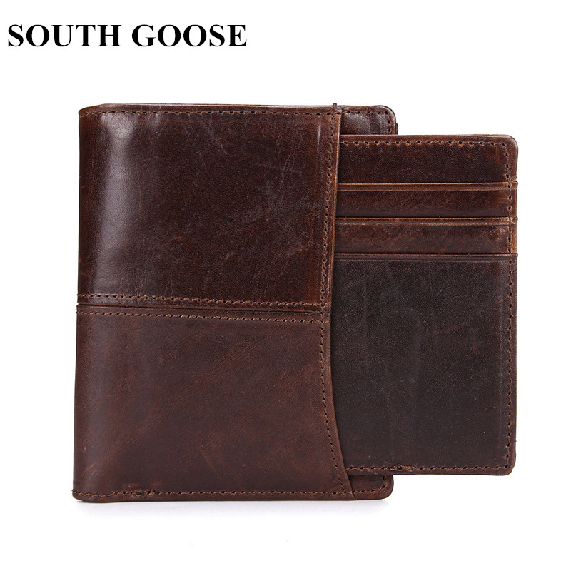 SOUTH GOOSE Real <font><b>Leather</b></font> <font><b>Wallet</b></font> <font><b>Men</b></font> Standard <font><b>Wallets</b></font> Vintage <font><b>Genuine</b></font> <font><b>Leather</b></font> Cowhide <font><b>Short</b></font> <font><b>Men's</b></font> <font><b>Wallet</b></font> Purse With Coin Pocket image