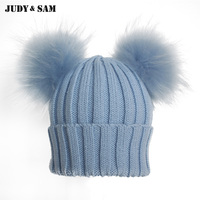 Winter Beanie Hat with Big Fluffy Raccoon Fur Pom Poms