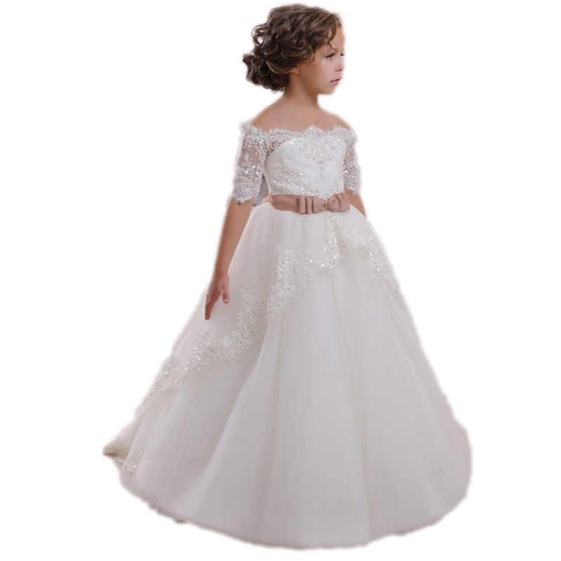 Children First Communion Dress Hollow Back Lace Up Appliques Bow Half Sleeves Shoulderless Girls Christmas Tulle Ball Gown E101 racmmer cycling gloves guantes ciclismo non slip breathable mens