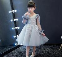 2017 New Arrival Silver Chiffon Flower Princess Girl Dress Baptism Party Wedding Birthday Gown Kids tutu Dresses 1 12Y
