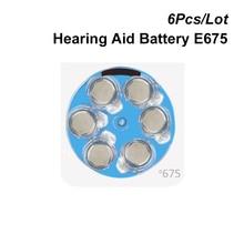 สังกะสีปุ่มเซลล์ 675 1.4V สีฟ้า TAB เครื่องช่วยฟังแบตเตอรี่ PR44 e675 แทนที่ 675A 675 P a675 AC675 DA675 P675 PR675 ZA675