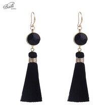 Badu Long Tassel Earrings for Women Bohemian Vintage 4 Colors Round Natural Stone Earring Daily Wearing Jewelry Wholesale