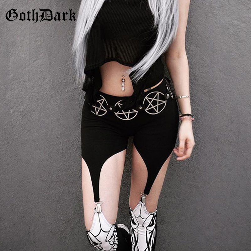 Goth Dark High Waist Black Patchwork Pants For Women Gothic Pattern Print Skinny Hollow Out Trousers Fashion Vintage Ring Pant