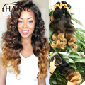 Ombre Body Wave Hair weave bundles 3pcs andLace Closure 1B#4#27 Malaysian Human Hair 3 tone Body Wave with 4x4 Wave lace closure