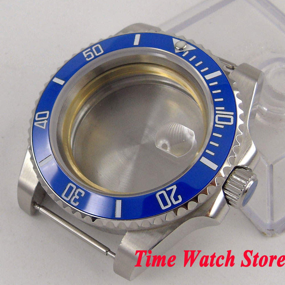 40mm 316L stainless steel Watch Case Sapphire glass blue ceramic bezel fit Miyota 8215 ETA 2836 movement SUB men's watch C97 цена и фото