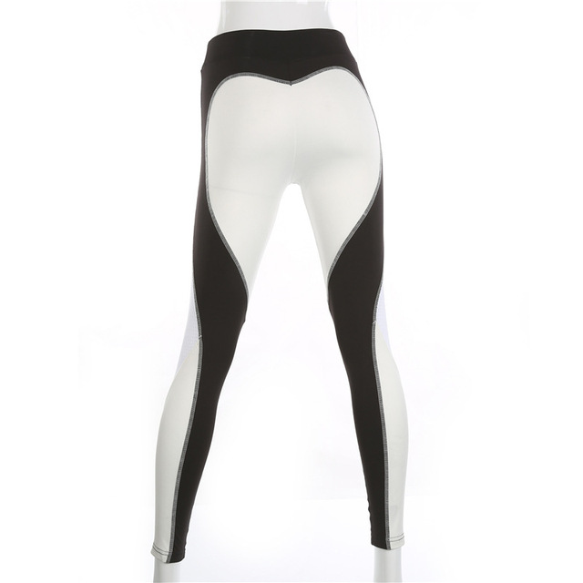 Heart Pattern Mesh Splice  Athleisure Fitness Clothing Leggings