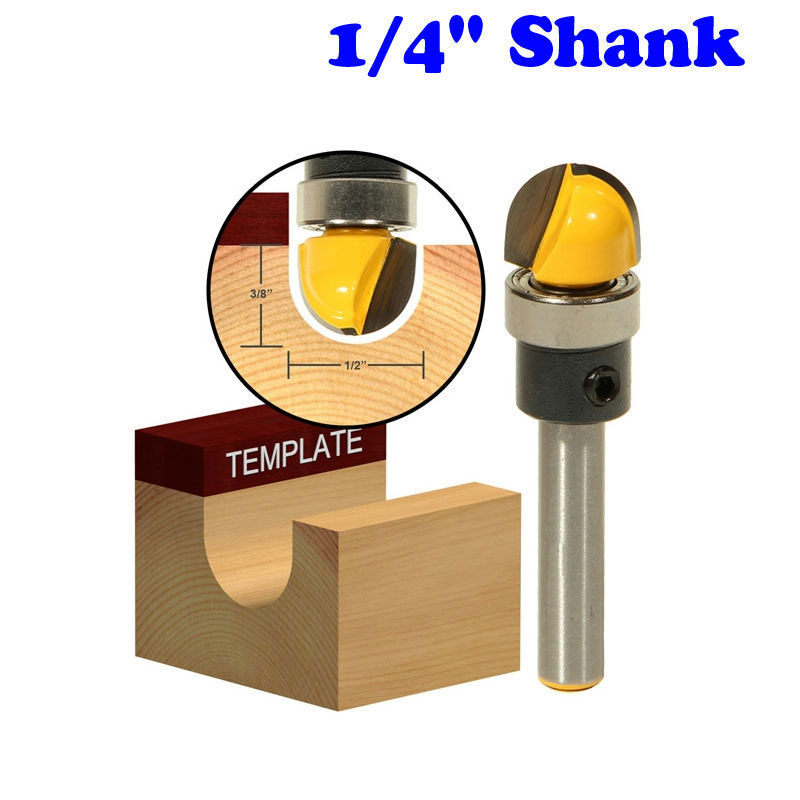 1pc 1/4 Shank Round Nose Router Bit with Shank Bearing - 1/2 W x 3/8 H For Woodworking Cutting Tool 1 4 x 3 8 cutting core box router bit tool blue silver tone