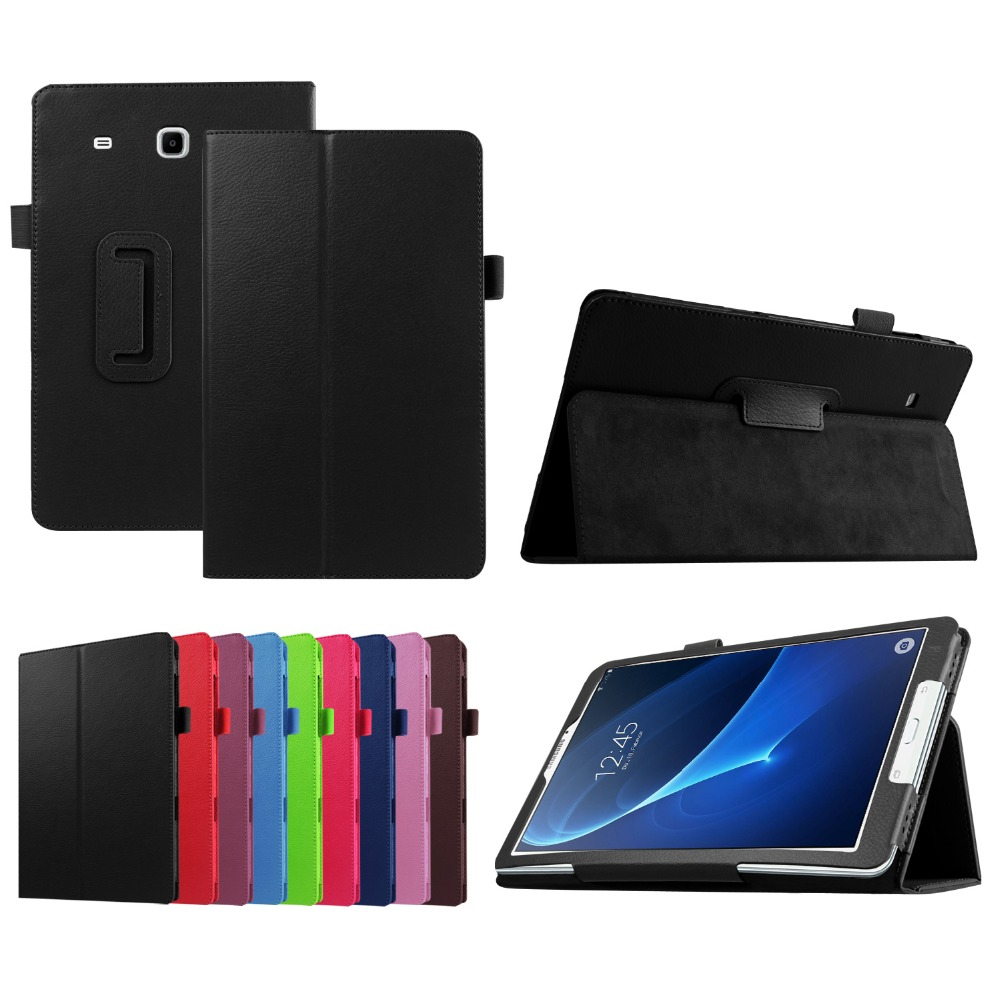 Ultra Slim Litchi 2-Folder Folio Stand PU Leather Cover Case For Samsung Galaxy Tab A 7.0 2016 T280 SM-T280 T280N T285 Tablet 2 folding luxury folio stand holder leather case protective cover for samsung galaxy note pro 12 2 p900 p901 p905 12 2 tablet