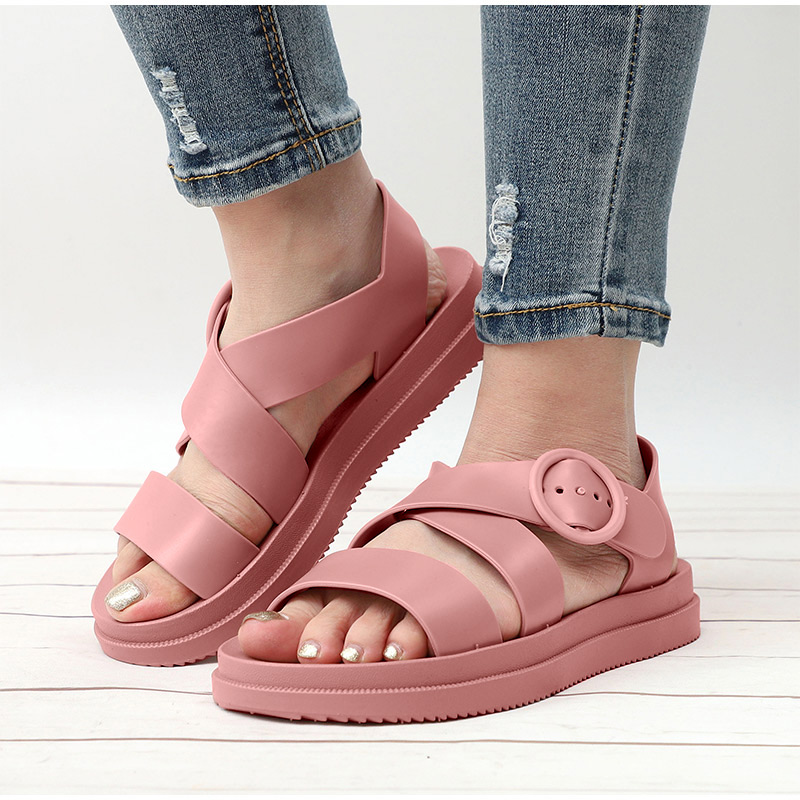 HTB1mTIpX8iE3KVjSZFMq6zQhVXaM MCCKLE Flat Sandals Women Shoes Gladiator Open Toe Buckle Soft Jelly Sandals Female Casual Women's Flat Platform Beach Shoes