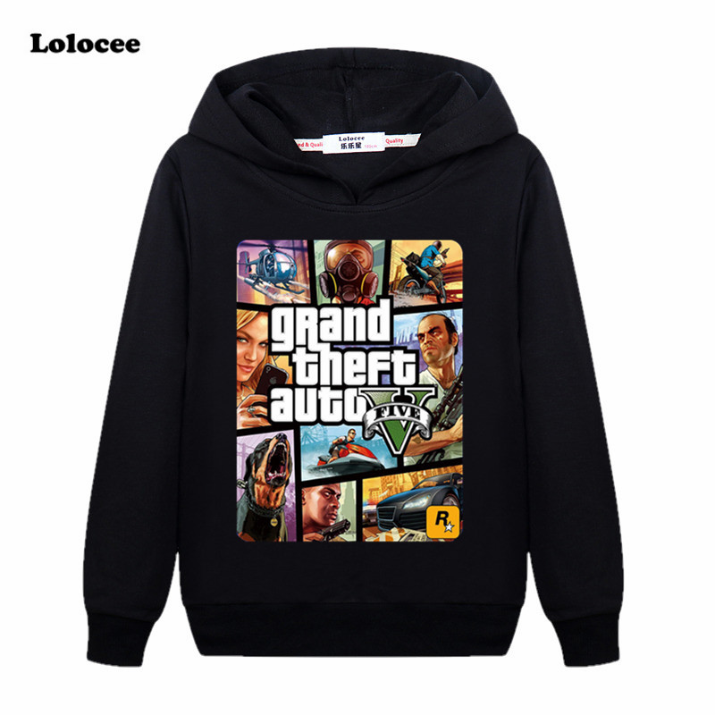 Kids Cartoon GTA Hoodie T Shirt Street Long with GTA 5 T-shirt Famous Brand Sweatshirt 100% Cotton Tees for Boys Game Shirt yellow hoodie sweatshirt with irregular hem