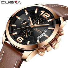 CUENA Quartz Watches Men Stopwatch Luminous Hands Genuine Leather Strap 30M Waterproof Sport Clock Men's Wristwatch Male Clock все цены