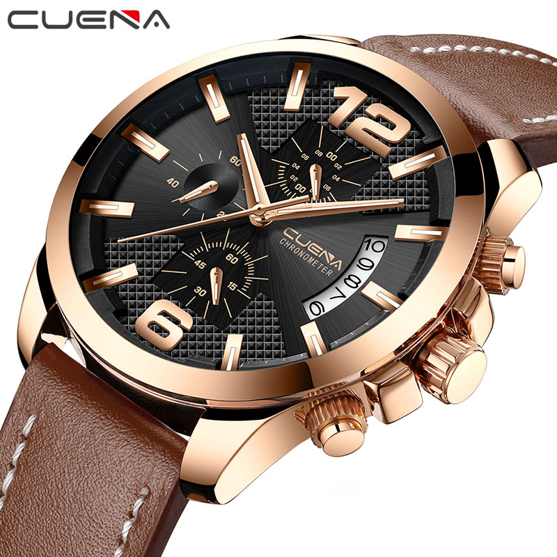 CUENA Quartz Watches Men Stopwatch Luminous Hands Genuine Leather Strap 30M Waterproof Sport Clock Men's Wristwatch Male Clock