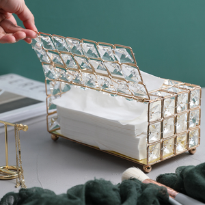 Image 3 - Light Luxury Gold plated Wrought Iron Tissue Box Living Room Storage Tray Napkin Holder Box For Creative Desktop Decoration