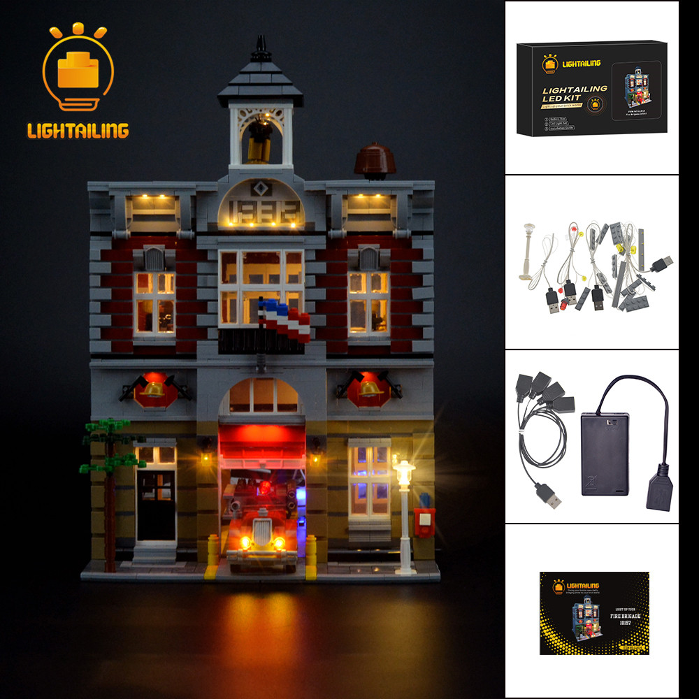 LIGHTAILING Led Light Up Kit For Creator Fire Brigade Station Building Block Model Light Set Compatible With <font><b>10197</b></font> image
