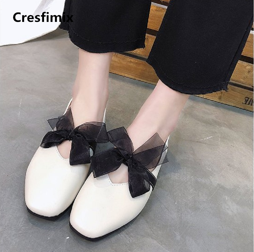 Cresfimix women fashion pu leather slip on flat shoes lady retro beige street flats zapatos de mujer cute bow tie shoes a2380 cresfimix femmes appartements women fashion comfortable mesh breathable flat shoes lady cute beige bow tie shoes zapatos b2859