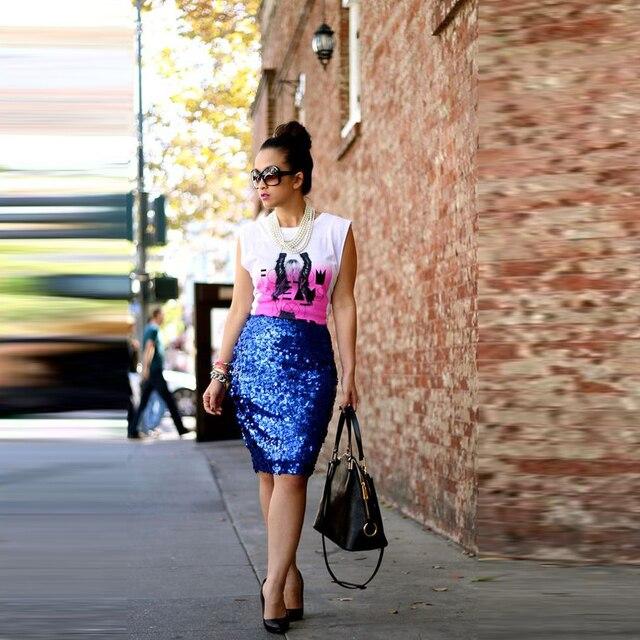 995de5fd454d Trend Sequin Skirt Customized Zipper Waistline Knee Length Sheath Pencil Skirt  Shiny Sparkling Street Style Summer Skirts