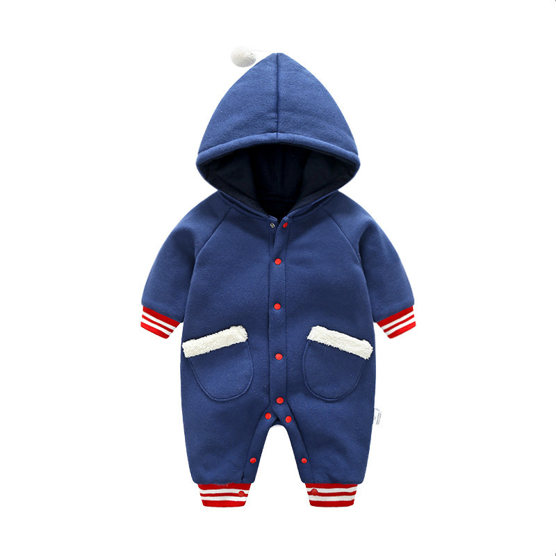 CalaBob Thick Warm Baby Boy Clothes Winter Newborn Baby Girl Rompers Hooded Cotton Infant Jumpsuit Cartoon Toddler Outerwear