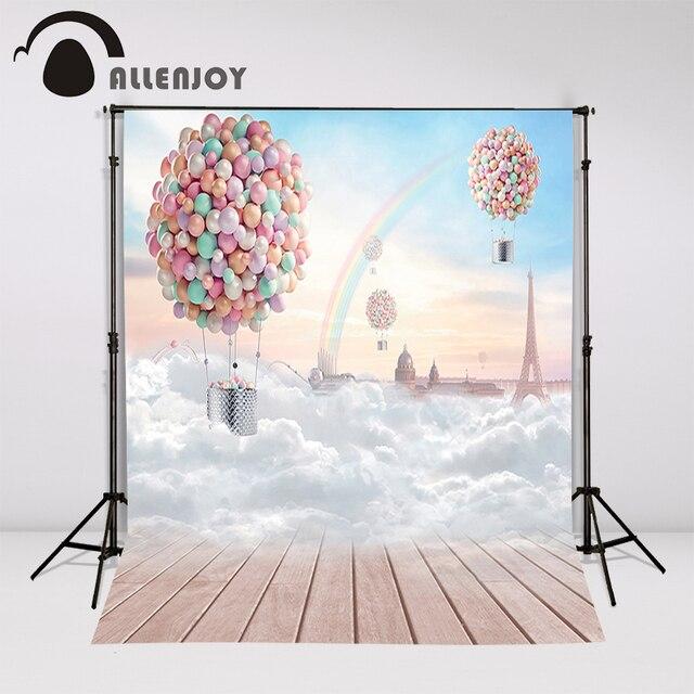 Allenjoy backdrop background wonderland hot air balloon rainbow Eiffel Tower children photo booth fantasy photography props