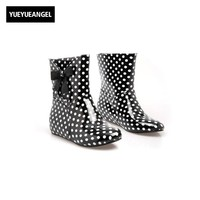 2017 Womens Faux Patent Leather Ankle Boots Girls Cute Bowknot Dots Waterproof Rain Boots Antiskid Pull