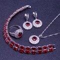Rodada Red Garnet Branco Criado Topázio Esterlina 925 Conjuntos de Jóias de Prata Para As Mulheres Pulseira/Brincos/Pingente/Colar/Caixa do anel Livre