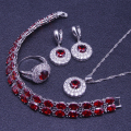 Round Red Garnet White Created Topaz 925 Sterling Silver Jewelry Sets For Women Bracelet/Earrings/Pendant/Necklace/Ring Free Box