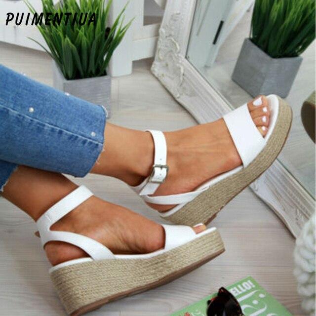 Puimentiua Mùa Hè Nền Tảng Giày Sandal 2019 Thời Trang Nữ Sandal Giày Đế Xuồng Cổ Người Phụ Nữ Peep Toe Đen Nền Tảng Dép Plus 43