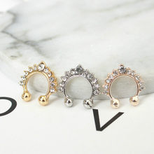 1pcs sell New Fashion Fashion Titanium Crystal Fake Nose Ring Septum Nose Hoop Ring Piercing Body Jewelry Drop Shipping(China)