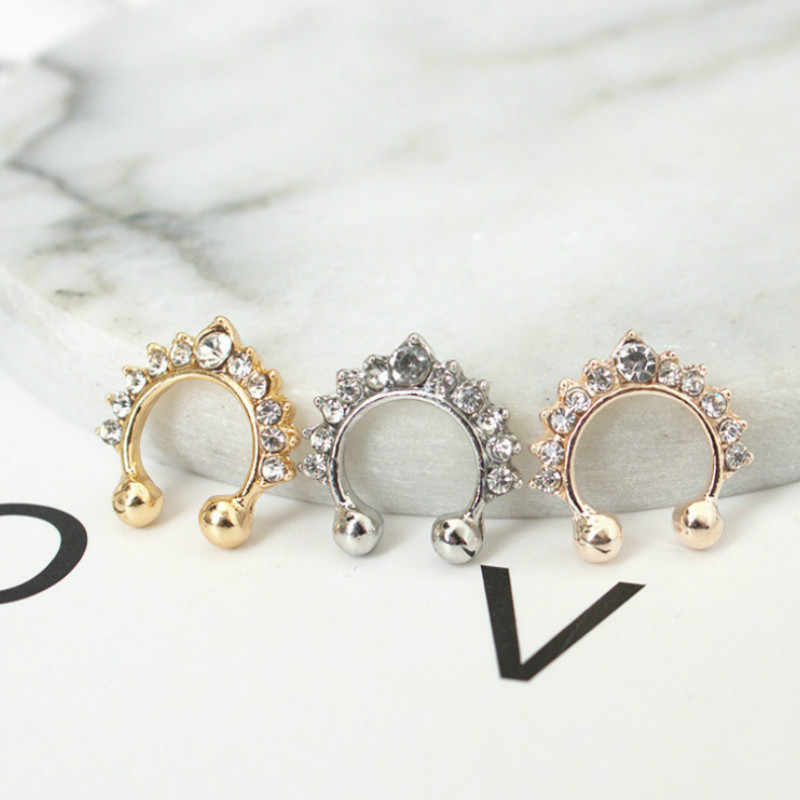 1pcs למכור חדש אופנה אופנה טיטניום גביש מזויף האף מחץ האף חישוק טבעת פירסינג גוף תכשיטי זרוק חינם
