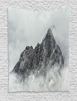 Farmhouse Decor Tapestry Landscape of Jade Dragon Mountain Atmosphere on Summit Asian Natural Beauty, Wall Hanging for Bedroom