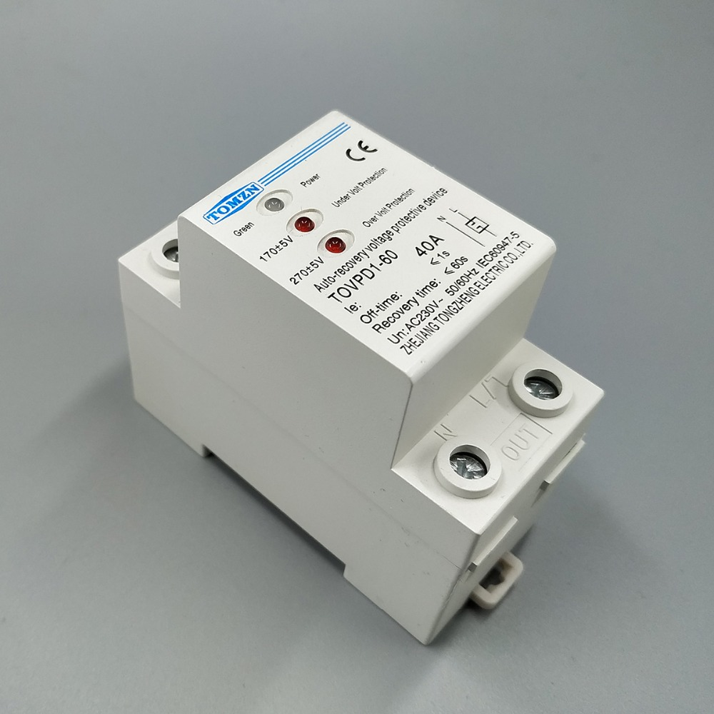 все цены на 40A 230V Din rail 3 LED automatic reconnect over voltage and under voltage protective device protector protection relay онлайн