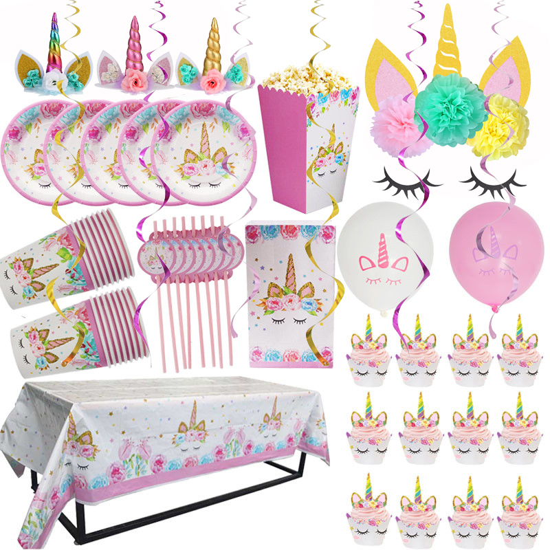 1set Unicorn Party Supplies Pink Rainbow Banner Plate Balloon Napkin Cupcake Wrapper Baby Shower Kids