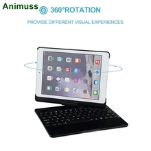 ANIMUSS Keyboard Case for iPad 9.7 2018 2017/iPad Pro 9.7/iPad Air, 7 Color Backlit Bluetooth 360 Rotate Stand