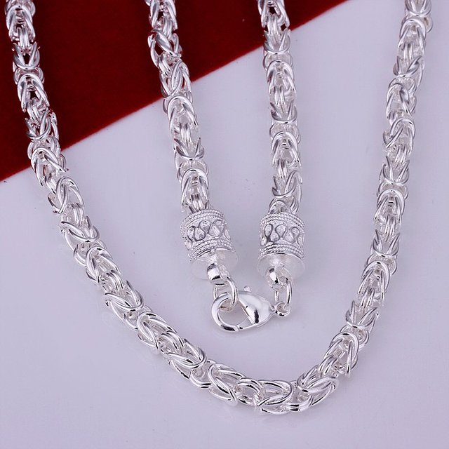 Men's 925 sterling silver Dragon Head Necklace Chain 6mm 20″ Wholesale 925 silver Jewelry