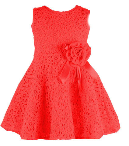 (LUCKY STORE) baby girls dress lace flowers dresses pink/ white/red color to choose vestidos infantis