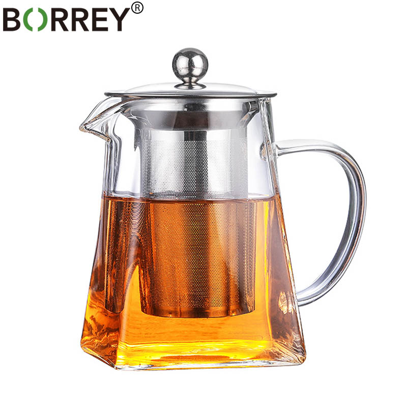 BORREY 500ML Borosilicate Glass Teapot Heat Resistant Square Glass Teapot With Tea Infuser Filter Milk Oolong Flower Tea Pot
