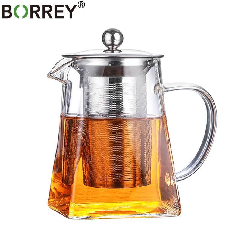 BORREY 500ML Borosilicate Glass Teapot Heat Resistant Square Glass Teapot With Tea Infuser Filter Milk Oolong Flower Tea Pot