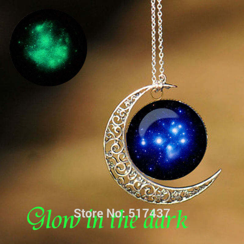 Glowing Jewelry Pleiades Star Cluster Pendant Round Glass Necklace Glow in The Dark Necklace