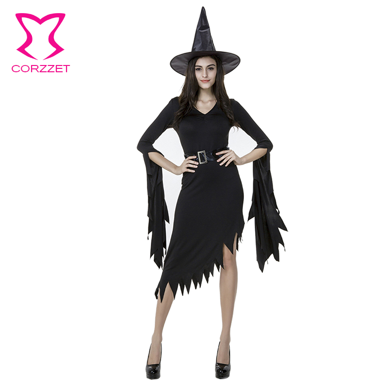9bcbec4dd14 Corzzet Sexy Witch Costume Deluxe Adult Womens Magic Moment Costume Adult  Witch Halloween Black Fancy Dress on Aliexpress.com
