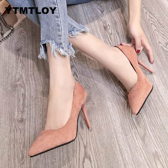 2019 HOT Women Shoes Pointed Toe Pumps Patent Leather Dress  High Heels Boat Shoes Wedding Shoes Zapatos Mujer Blue White 14
