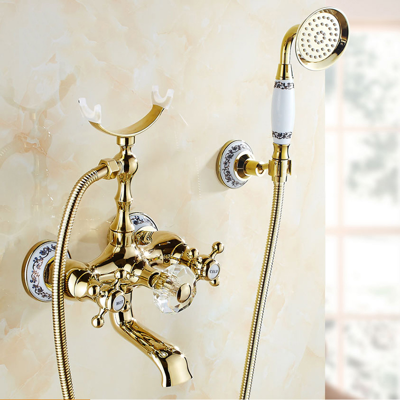 Bathtub Faucets Luxury Gold Brass Bathroom Faucet Mixer Tap Wall Mounted Hand Held Shower Head Kit Shower Faucet Sets HS-G018 gold color brass wall mounted bathroom single handle bathtub faucet tap hand held shower set with wall bracket