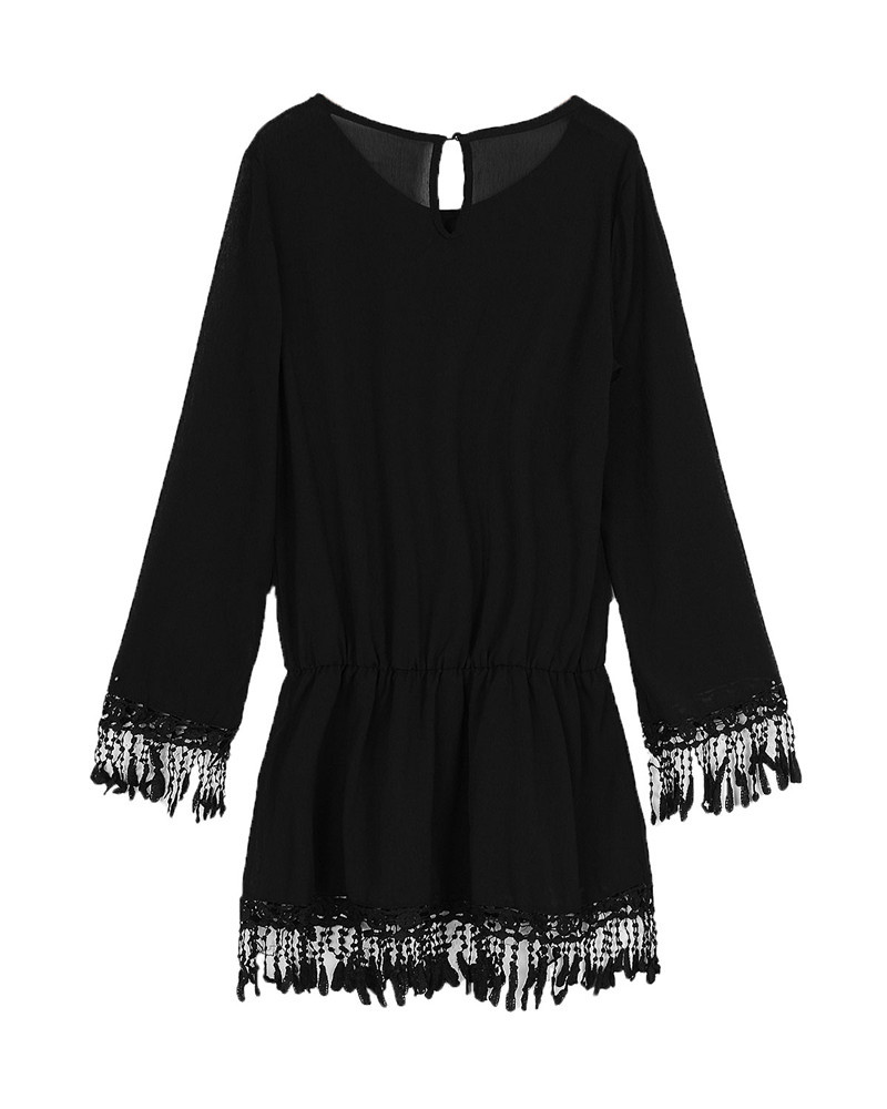 ZANZEA 2017 Summer Women Boho Tassel Lace Dress Sexy Crochet Tunic Beach Party Dresses Black White Chiffion Vestidos Plus Size 28
