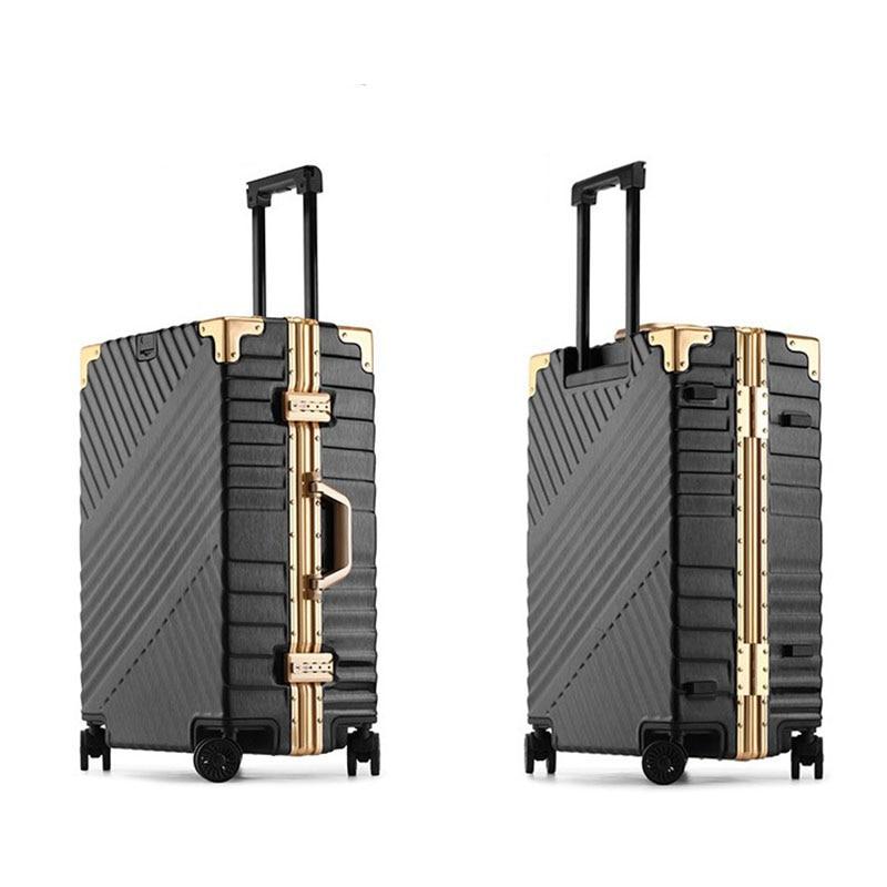 """Bagaj ve Çantalar'ten Tekerlekli Bagaj'de 20 """"24"""" 26 """"29"""" Vintage haddeleme hardside bagaj seyahat bavul tekerlekli kolları özel lazer gravür'da  Grup 2"""
