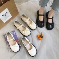 Sweet Lolita Shoes Cosplay JK Round Toe Japanese School Students Girls Bowknot Cute Kawaii Flat Platform PU Shoes 3 Colors