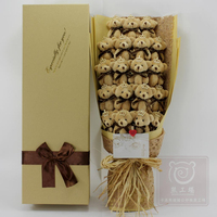 19pcs Multi Colors Bear Stuffed Toy Bouquets With Box Mini 12cm Bear Plush Toys For Bride Stuffed Plush Animals Gift For Wedding
