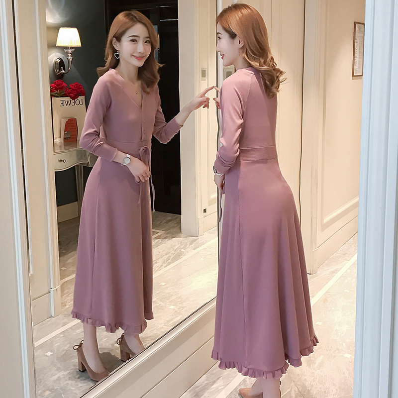 Long Sleeve Knitted Maternity Nursing Long Dress Autumn Winter Fashion Tie Waist Sexy Elegant Party Clothes for Pregnant Women kohuijoo autumn winter women sweater dress medium long 2018 korean warm knitted geometric dress half turtleneck long sleeve sexy