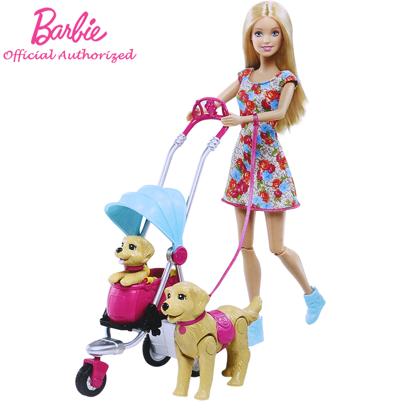 Barbie Original Brand Strollin' Pups Playset Doll Toy Collectiong Pretend Barbie Toy Lovely Dog CNB21 Boneca Mode Birthday Gift