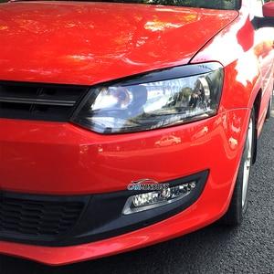 Image 1 - Carmonson سيارة المصابيح الأمامية الجفون الحاجب ABS تقليم ملصقات غطاء ل Volkswagen VW Polo MK5 2011 2017 اكسسوارات السيارات التصميم
